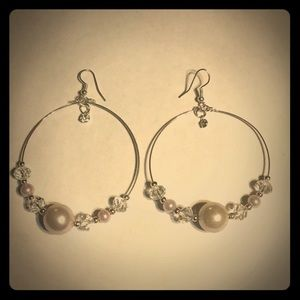 3/$15 faux pearl and clear bead hoop earrings
